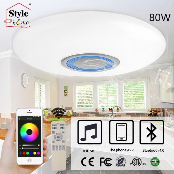 80W LED RGB Deckenlampe Bluetooth bedienbar mit App Fernbedienung Weiss&Blau