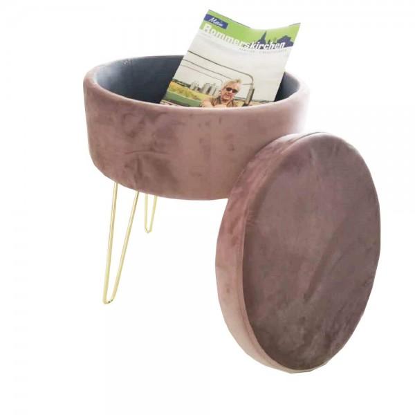 Sitzhocker mit Stauraum Fußhocker Aufbewahrungsbox Deckel Abnehmbar Gepolsterte Sitzfläche aus samt
