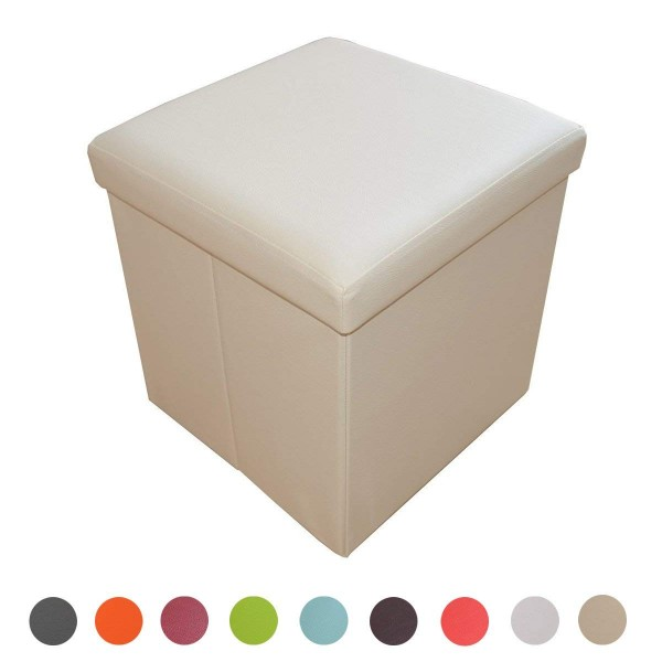 Sitzhocker Aufbewahrungsbox faltbar belastbar off-white 1638-01