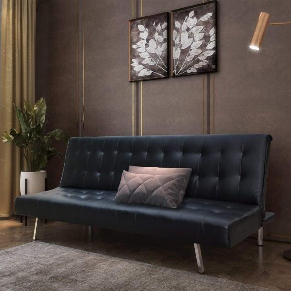 Schlafsofa Couch Bett Kunstleder, Schwarz,180 x 108 x 37 cm