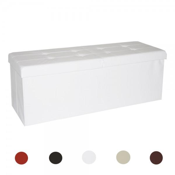 Faltbar Sitzbank 3 Sitzer mit 120L Stauraum, Kunstleder, 110x38x38cm,Weiß