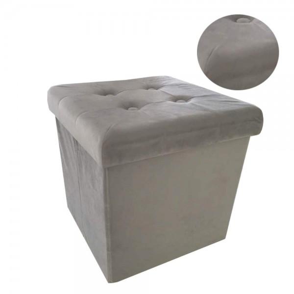Sitzbank Sitzhocker faltbare Aufbewahrungsbox Samt hell grau