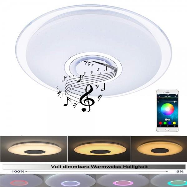 24W Bluetooth Deckenleuchte APP-Steuerung und Bluetooth Lautsprecher mit Acryl Kanten [Energieklasse
