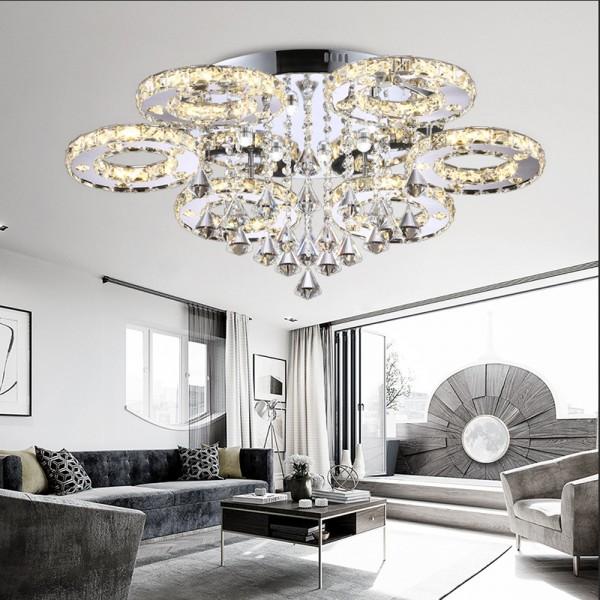 Kristall LED Deckenlampe Kronleuchter 6106 68W 6-flammig 3 Farben Stufen mit Fernbedienung