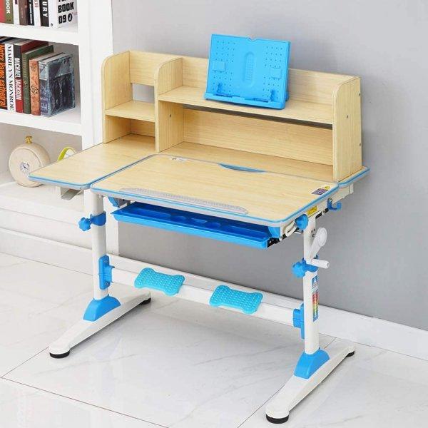 Style home Kinderschreibtisch: höhenverstellbar/neigbar, Schülerschreibtisch mit Bücherregal Blau