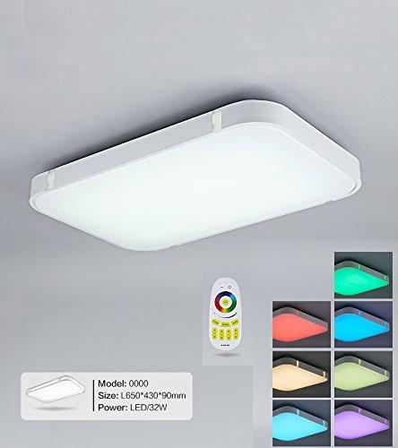 Weiß 32W RGB LED Deckenleuchte 3000-6000K volldimmbar mit Farbwechselfunktion
