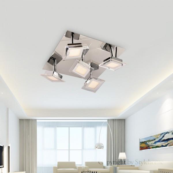 5-flammiger LED Spot Strahler Deckenleuchte Chrom 3000K (A++)
