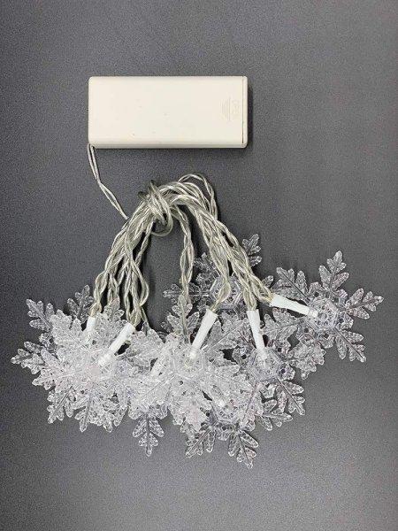 Style home Lichterkette 10er LED Lichterketten mit Schnee, Timer, Batteriebetriebene Lichter für Inn