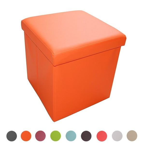 Sitzhocker Aufbewahrungsbox faltbar belastbar 1638-10 Knall-Orange