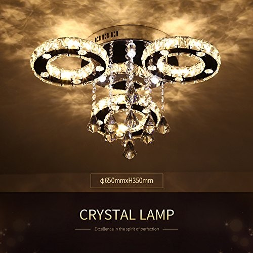 Ameride Dekoration Kristall LED Deckenlampe 3 Flammig 30W Warmweiß