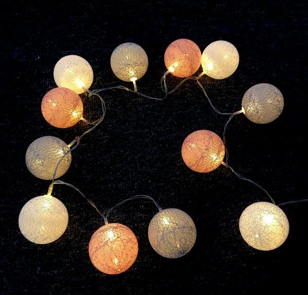 LED Lichterkette mit 20er Baumwollkugeln, Strombetriebene Innen Deko für Party Weihnachten Hochzeit