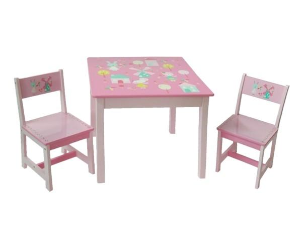"""Kindersitzgruppen 1 Tisch und 2 Stühle """"Hase und Windmühle"""""""