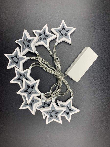Style home 10 LEDs Lichterkette Lichtvorhang Innen Batteriebetrieben Timer mit Sternen