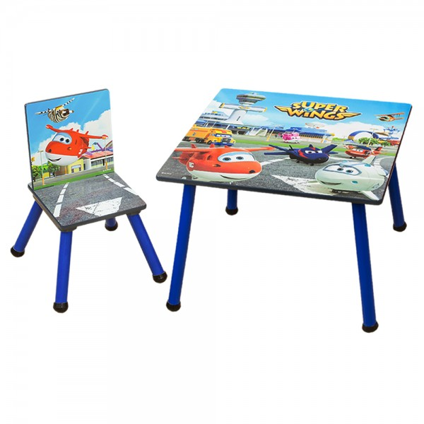 Super Wings 2tlg. Kindersitzgruppe Holz Kindertisch mit Kinderstuhl C3DZY001