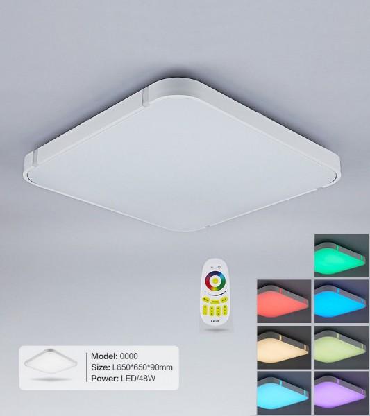 Silber 48W RGB LED Deckenleuchte 3000-6000K volldimmbar mit Farbwechselfunktio