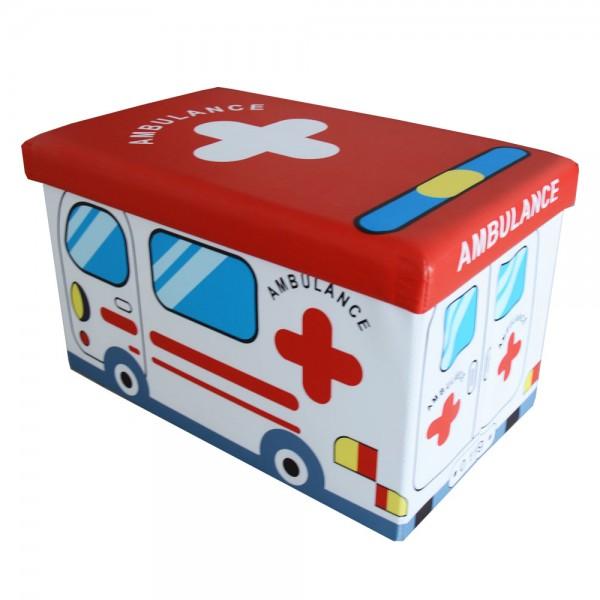 Faltbarer Sitzhocker Aufbewahrungsbox für Kinder- Ambulance - 165030B