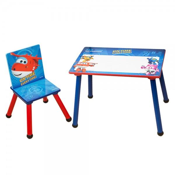Super Wings 2tlg. Kinder Sitzgruppe Holztisch mit Tafeloberfläche