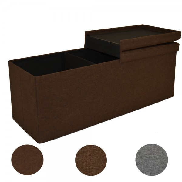 Faltbar Sitzbank 3 Sitzer mit 120L Stauraum, Leinen, 110x38x38cm, Dunkelbraun