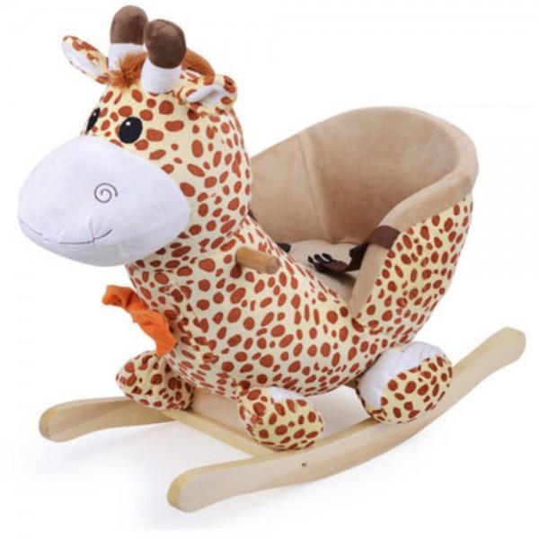 Schaukelpferd 1-3 Jahre Giraffe mit Plüschbezug