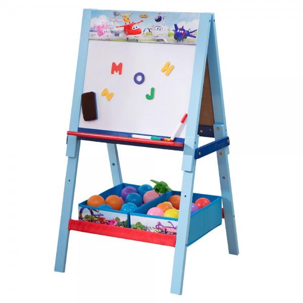Kindertafel doppelseitige Schreibtafel mit Ablage,Whiteboard & Tafel Holz