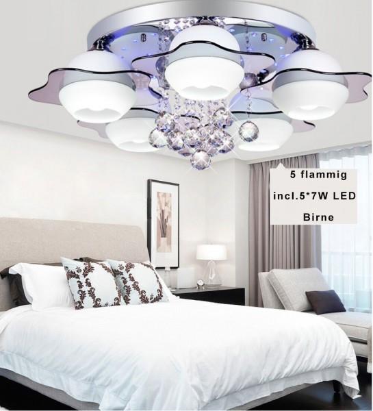 RGB Kristal LED Deckenlampe 6102 5 Flammig*7W Warmweiss mit Fernbedienung