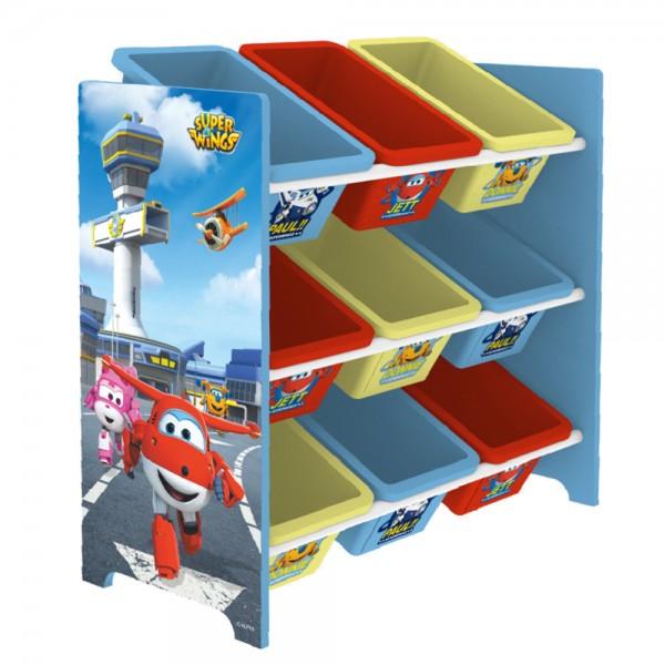 Super Wings Kinderregal Spielzeugregal Spiezeugkisten mit 9 Aufbewahrungsboxen