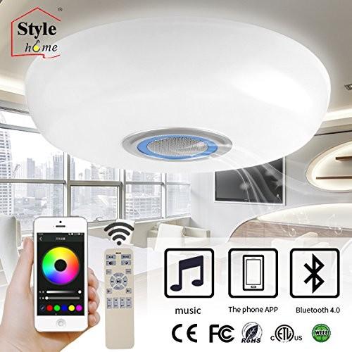 60W LED RGB Deckenlampe Bluetooth bedienbar mit App Fernbedienung Weiss&Blau