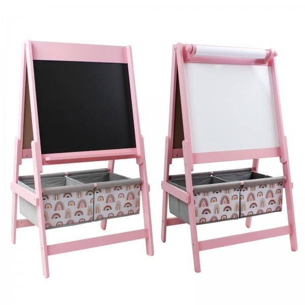 Kindertafel beidseitige Standtafel mit Papierrolle & 2 Stoffboxen