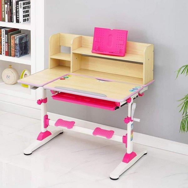 Style home Kinderschreibtisch höhenverstellbar neigbar Schülerschreibtisch mit Bücherregal Rosa