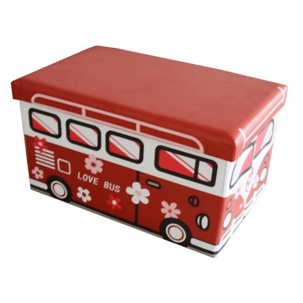 Faltbarer Sitzhocker Aufbewahrungsbox für Kinder - Love Bus - 165030H
