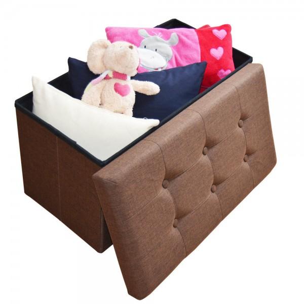 Sitzhocker Aufbewahrungsbox faltbar belastbar 2676-13-Dark Brown