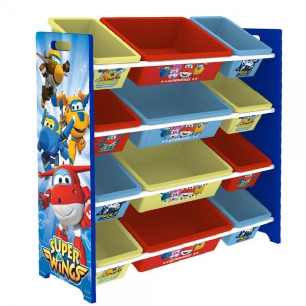 Super Wings Kinderregal Spielzeugregal Spiezeugkisten mit 12 Aufbewahrungsboxen