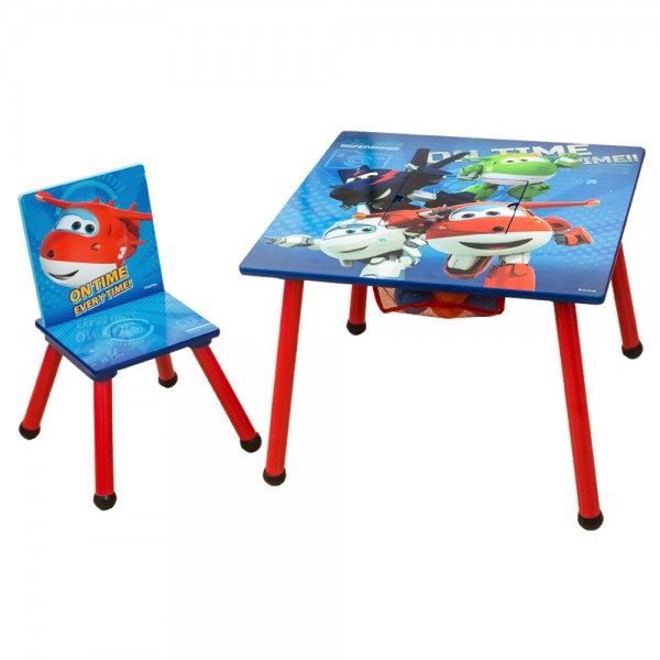 Super Wings 2tlg. Kinder Sitzgruppe Holz Kindertisch mit Kinderstuhl C3DZY002