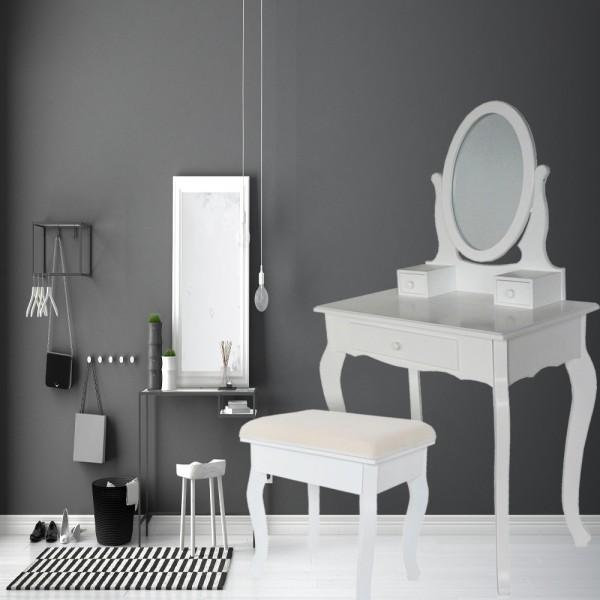 Schminktisch mit Spiegel 3 Schubladen Hocker Weiß STE169C-3-WH