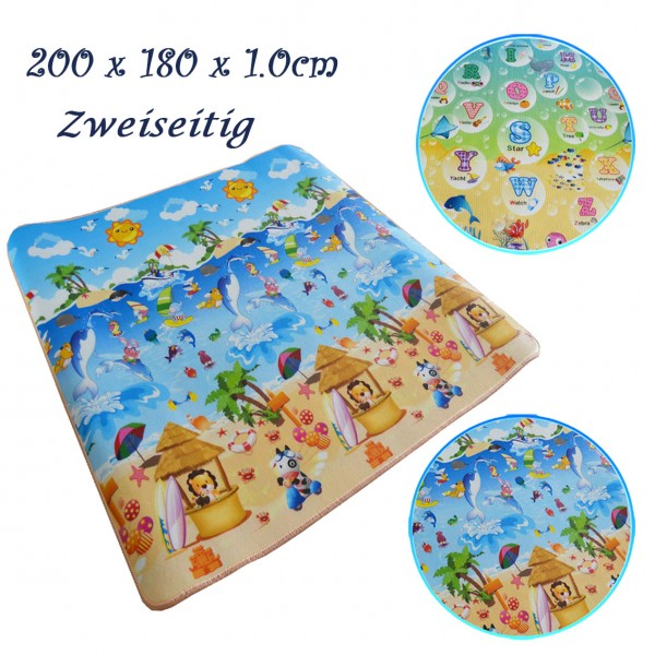 Kinderspielteppich Zweiseitig Puzzlematte Sportmatte 200 x 180 x 1cm