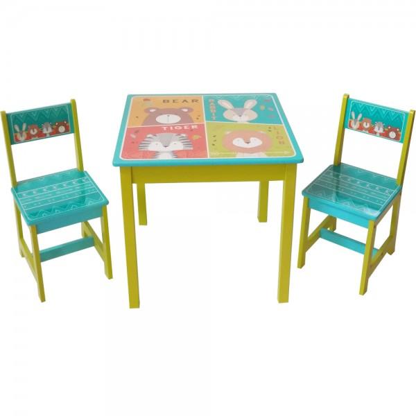 """Kindersitzgruppen 1 Tisch und 2 Stühle """"Tiere"""""""