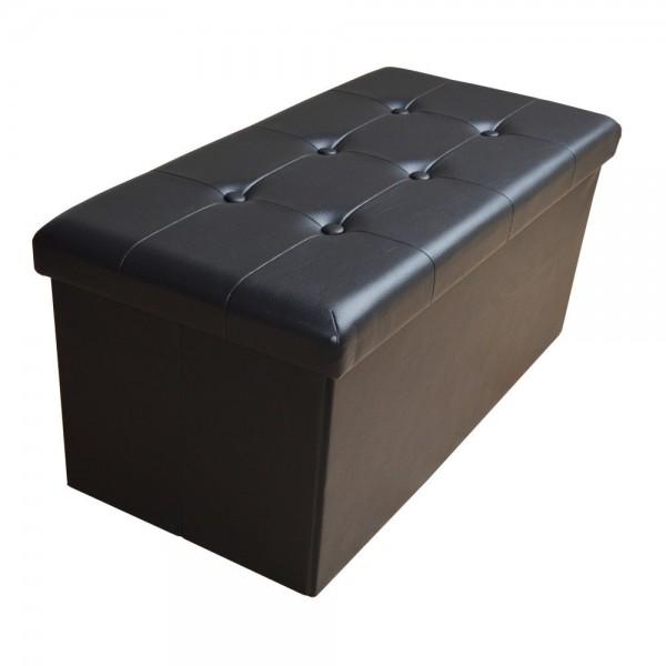 Sitzhocker Aufbewahrungsbox faltbar belastbar 1676-29 Tiefschwarz