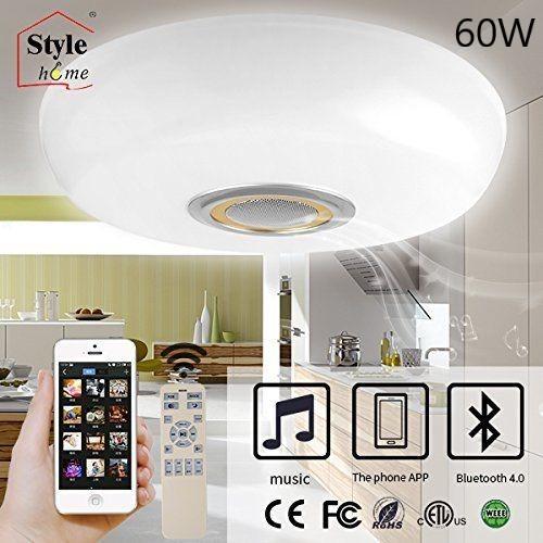 60W LED RGB Deckenlampe Bluetooth, bedienbar mit App oder Fernbedienung Weiss&Gold