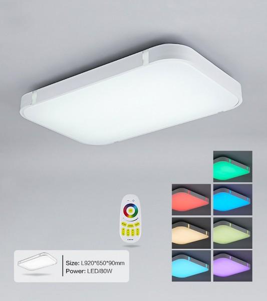 Silber 80W RGB LED Deckenleuchte 3000-6000K volldimmbar mit Farbwechselfunktio