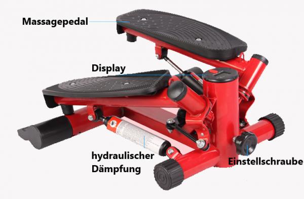 Stepper Fitness incl. Traningsbänder Display S1-A002 Rot