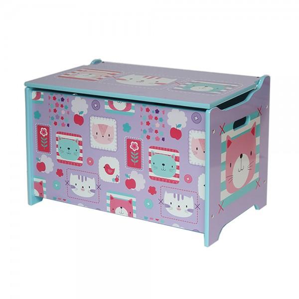 "Kindersitztruhe Spielzeugkiste ""Katze und Blumen"" Holz, 60 x 36 x 39 cm-Copy"