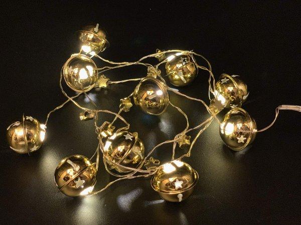 Style home 10er LED Lichterkette mit Metallglocken & Sternen, Timer, Batteriebetriebene Lichter für