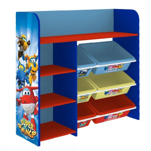 Super Wings Kinderregal Spielzeugregal mit 6 Boxen und 4 Ablage Kinder Spielzeug-Organizer