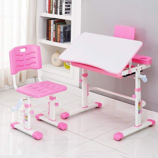Style home Höhenverstellbares Schreibtisch Set mit Stuhl (Rosa)