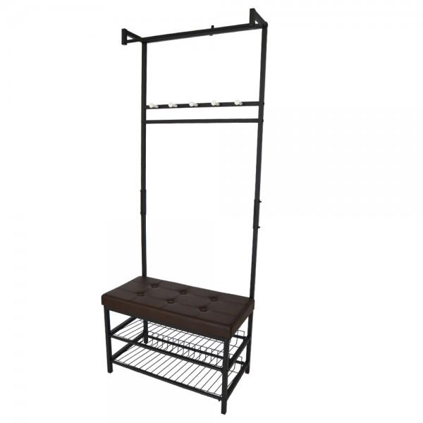 Garderobenständer Kleiderständer 2 Ablagefächer Sitzmöglichkeit
