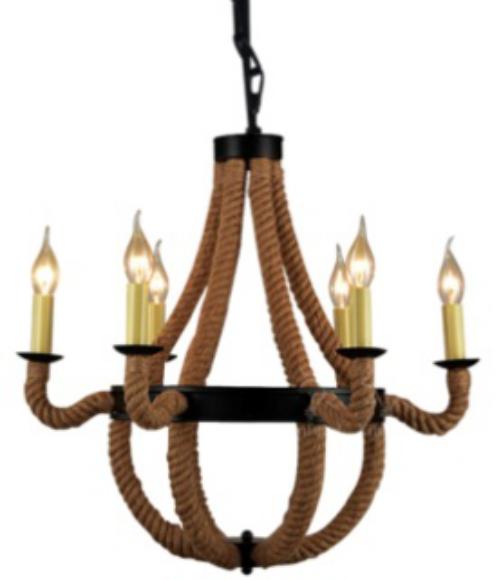 Ameride Retro Deckenlampe Hängelampe Metall Seil Vintage 6-flammig AD-RL-C605