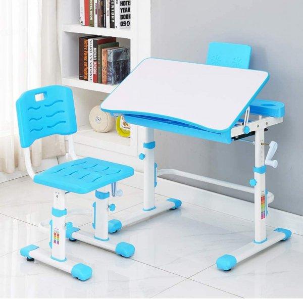 Style home Höhenverstellbares Schreibtisch Set mit Stuhl (Blau)