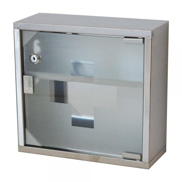 Edelstahl Medizinschrank Arzneischrank Erste Hilfe Schrank mit Schloss in Silber 2 Fächern (30x30cm,