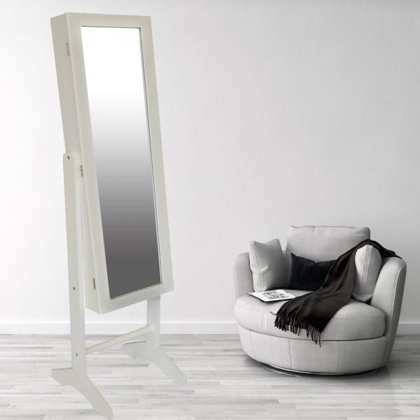 Schmuckschrank Spiegelschrank Schmuckregal Holz Weiß SJC156E